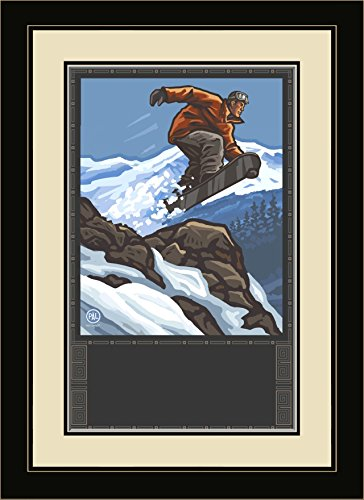 Northwest Art Mall PAL-0183 MFGDM SBJ Loveland Colorado Snowboarder Jumping Framed Wall Art by Artist Paul A.Lanquist, 13 by - Colorado Loveland Mall