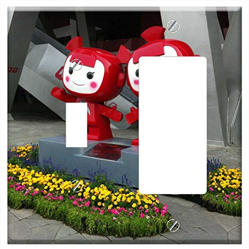 1-Toggle 1-Rocker/GFCI Combination Wall Plate Cover - Beijing Olympic Park Mascot Statue Monument S