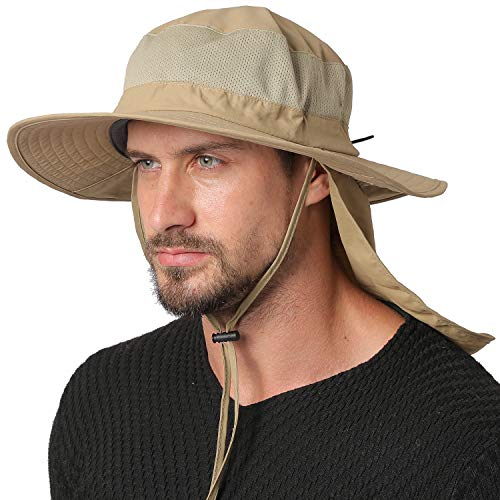 Jormatt Outdoor Fishing Sun Hat Waterproof UV Protection Wide Brim Sun Hat with Flap Neck Cover Mesh Breathable Foldable Safari Cap Unisex UPF 50+,Khaki