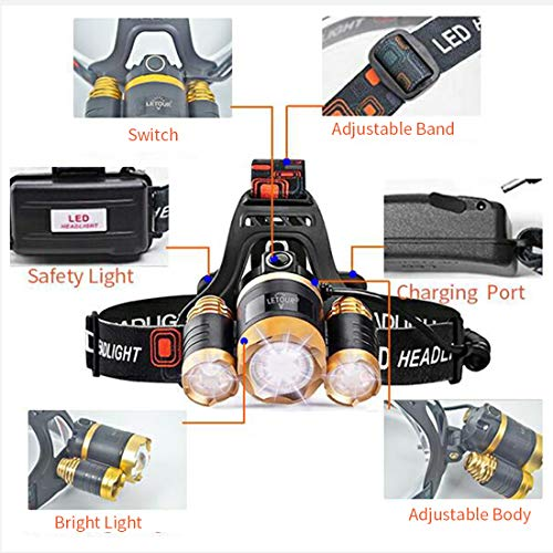 LETOUR Headlight, Brightest 6000 Lumen CREE LED Work Headlamp,18650 Rechargeable Waterproof Flashlight with Zoomable Head Light,Bright Head Lights for Camping Running Hiking by LETOUR (Image #4)