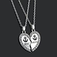 Silver Broken Heart Two Parts Pendant Best Friends Necklaces Anchor Charms Gift