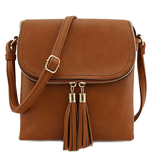 - Flap Top Double Compartment Crossbody Bag with Tassel Accent (Tan)