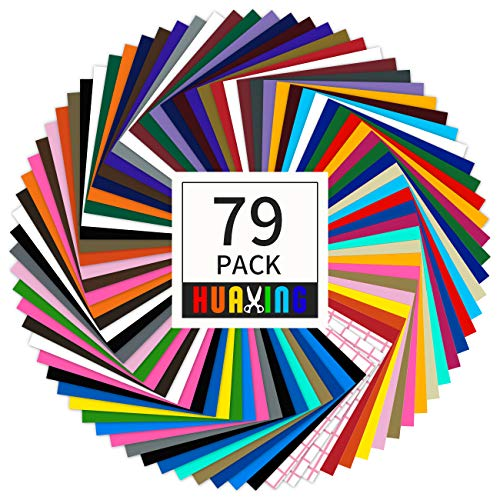 "Huaxing Permanent Self Adhesive Vinyl Sheets (Pack of 79, 12"" X 12"") - 38 Assorted Colors Premium Adhesive Craft Outdoor Vinyl for Decor Sticker"