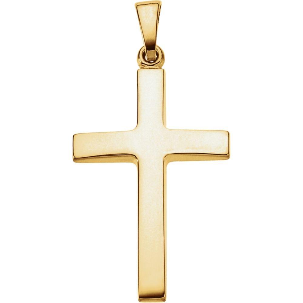 FB Jewels 18K Yellow Gold 23x15.9mm Cross Pendant