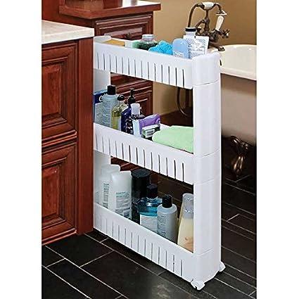 Slim alimentos de almacenamiento organizador de limpieza suministros Pantry armario Slide a carro de con ruedas