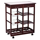 Premade Kitchen Island Rolling Wooden Kitchen Island Storage Utility Cart Dining Portable Trolley Stand With Storage Cabinet Drawer Pull Out Shelves Wine Racks Chrome Plated Basket Large Storage Space