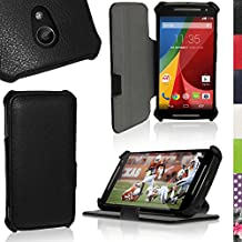 iGadgitz Premium Folio Black PU Leather Case Cover for Motorola Moto G 2nd Generation 2014 XT1068 (G2) with Multi-Angle Viewing Stand + Auto Sleep/Wake + Screen Protector
