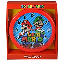Super Mario 10 Round Wall Clock in Open Window Box