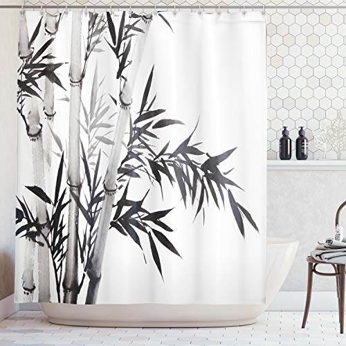 Ambesonne Tree Shower Curtain Bamboo Decor by, Bamboo Tree Illustration Traditional Chinese Calligraphy Style Asian Culture Home Decor, Fabric Bathroom Shower Curtain Set, 75 Inches Long, Black White