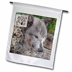 """3dRose fl_180494_1 """"Wolf Collage"""" Garden Flag, 12 x 18"""""""