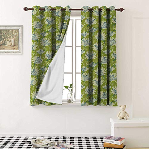 shenglv Hummingbirds Customized Curtains Birds Pattern on Floral Background Springtime Garden Wings Artful Curtains for Kitchen Windows W63 x L45 Inch Lime Green Blue Cream ()
