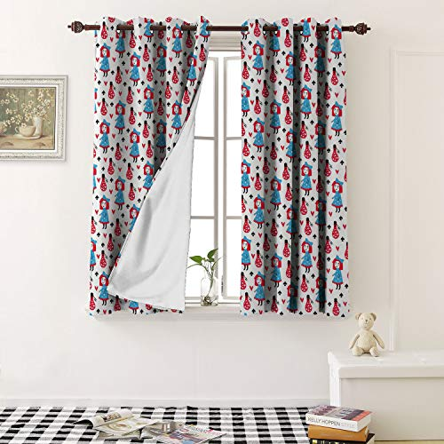 1GShophome Waterproof Window Curtain Fairytale Cute Seamless Pattern Color Background Design for t Shirt te Print Grommets Bedroom Blackout Curtains (2 Pieces, 31.5