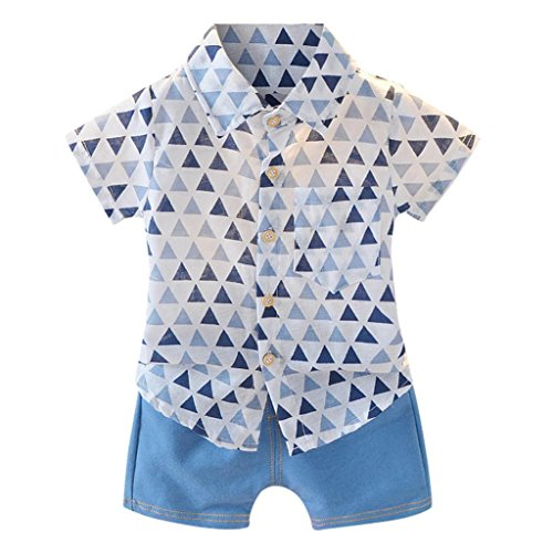 LNGRY Baby Clothes,Toddler Infant Boys Geometry Print Pocket Shirts Top+Denim Shorts Set Outfit (12-18 Months, Blue)