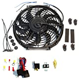 "16"" Electric Curved Blade Reversible Cooling Fan 12v 3000 CFM with Thermostat Kit"