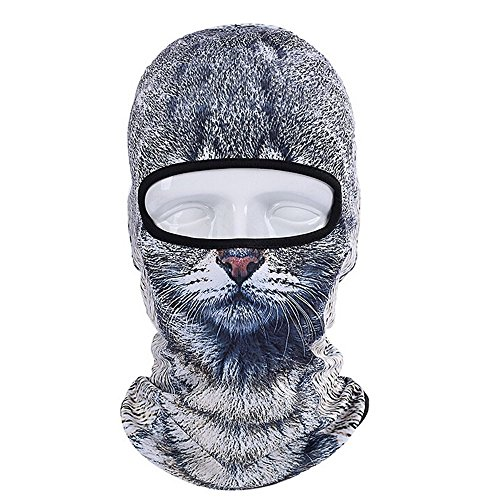 gangnumskythaii Hood Motorcycle Ski Mask Cycling Riding Training Snowboard 3D Animal Bicycle Hats Balaclava Windproof Snowboard Party Halloween Full Face (Daft Punk Skeleton Costume)