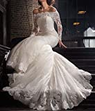 LUBridal 2018 Lace Mermaid Wedding Dresses Applique Beaded Long Sleeve Wedding Gowns Formal