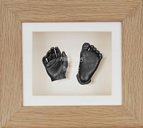 BabyRice 3D Baby Boy Casting Kit Solid Oak Wood Frame Pewter Foot Casts
