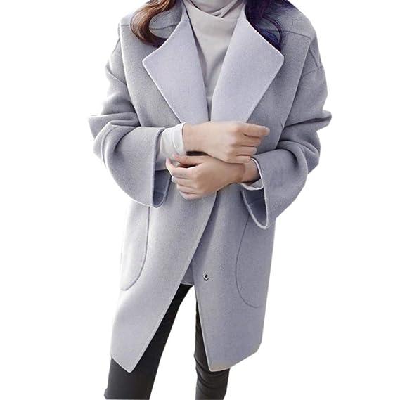 Sylar Abrigos Mujer Invierno Elegantes Moda Color Sólido Más Grueso Solapa Abrigo De Lana Manga Larga Bolsillo Suelto Caliente Outwear Tops Coats: ...