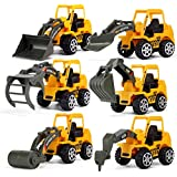 6 Pieces Mini Metal Construction Vehicle Toys Set for Kids - Forklift, Bulldozer, Road Roller, Excavator, Dump Truck, Tractor, Diecast Car Toy for 3, 4, 5 Years Old Boys Toddlers
