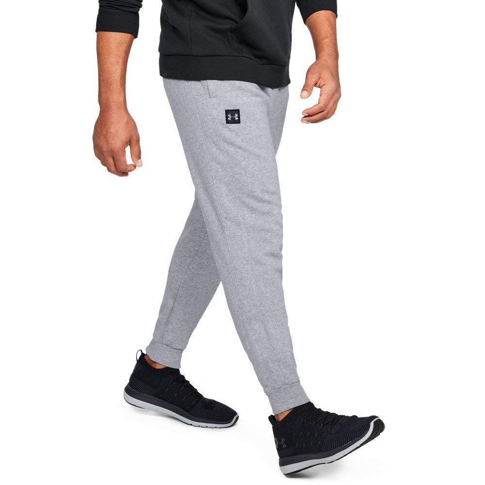 Under Armour Men's Rival Fleece Jogger, Steel Light Heather (036)/Black, Medium
