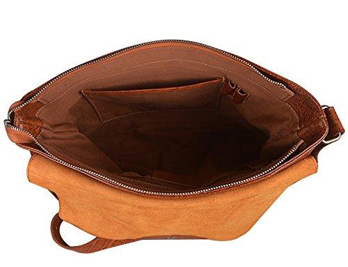Genda 2Archer Cuero Genuino Ocasional 12 pulgadas Bolso del mensajero del Ordenador Portátil Bolso de la Honda Para los Hombres o las Mujeres (34cm * 6cm *24cm)