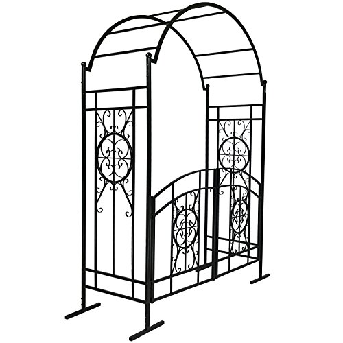 Black 7' High Garden Arched Arbor with Gate