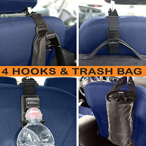 (4 Magic Headrest Hooks for Car and Car Trash Bag-Universal Auto Vehicle Hanger Holder Back Front Seat Storage Organizer for Hanging Purse,Handbag,Backpack,Grocery Bags,Women Accessories)