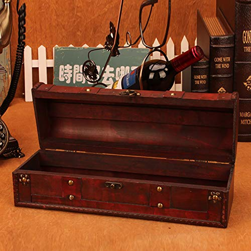 1 Bottle Wooden Red Wine Box Anniversary Ceremony Couples Wedding Wine Gift Box Holder Vintage Wine Case With Handle Wood and Faux Leather Antique Finish by Meltset (Image #6)