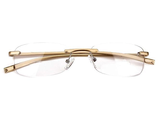 0dbcd89cde4 Loovit Rimless Rectangle Bifocal Reading Glasses Mens Womens Spring Hinge  Frameless Readers Reading Glasses (Gold