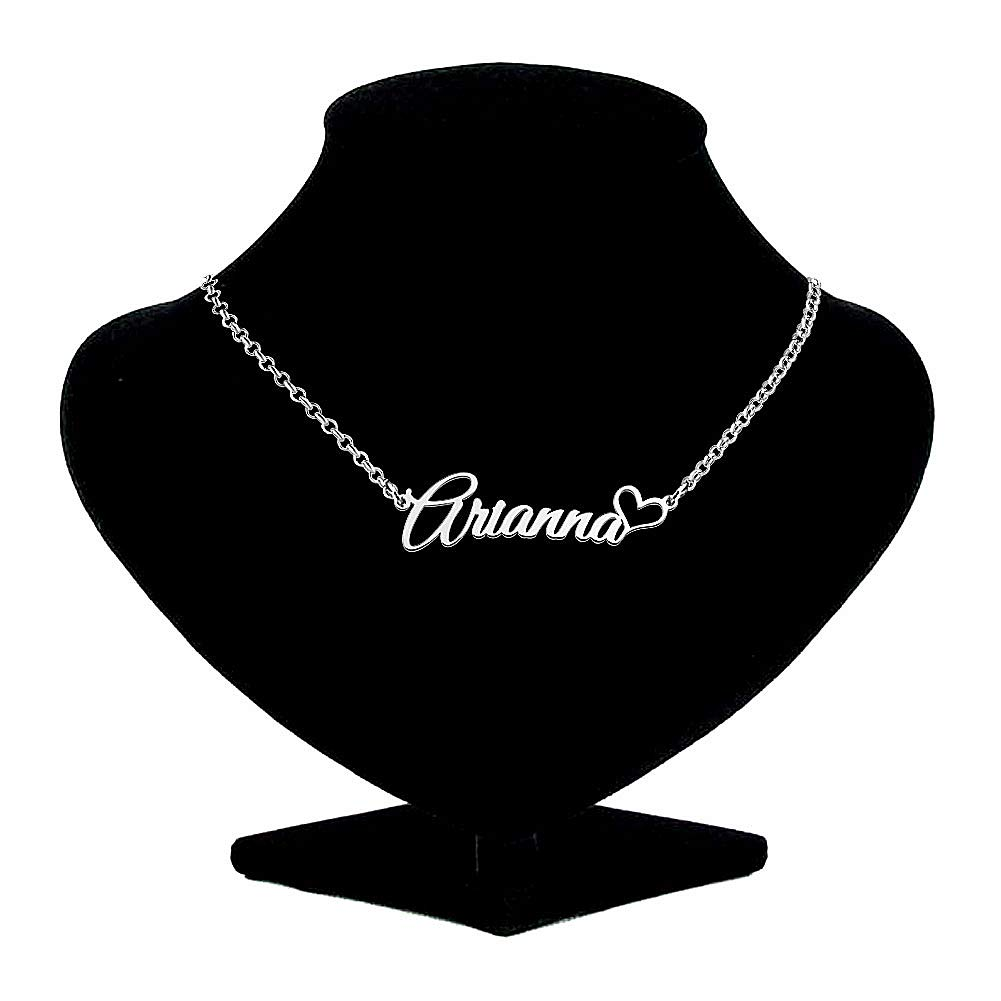 Sug Jasmin Classic 925 Sterling Silver Customized Name Necklace Semi-Custom Made Name Necklace Heart Love Personalized Pendant Jewelry Gift for Women Girls