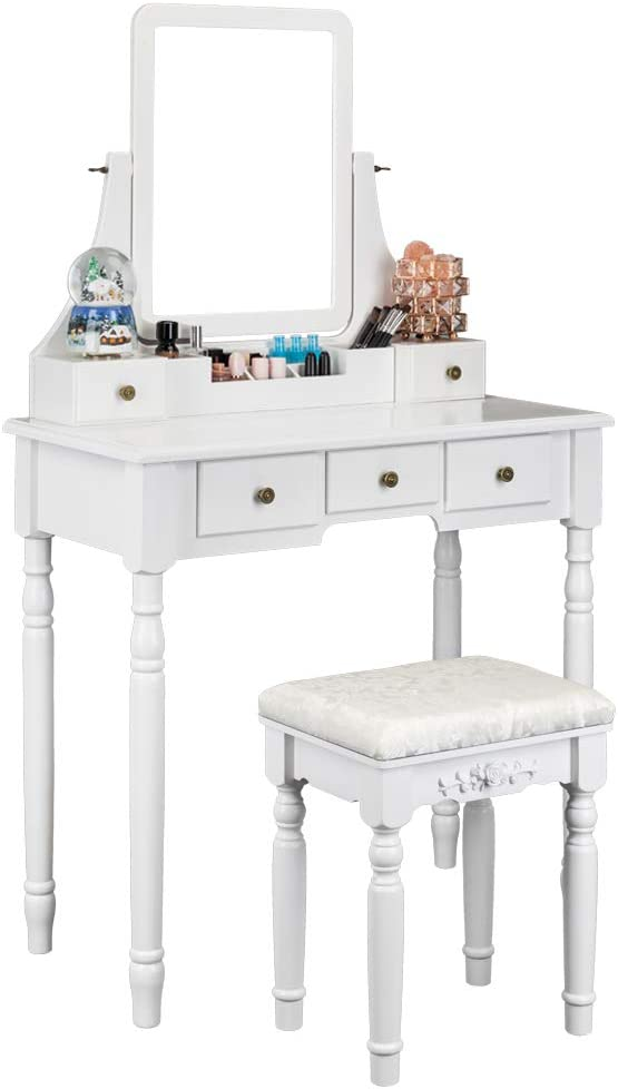 Bonnlo White Vanity Table Set with Mirror and Cushioned Stool,Dressing Makeup Table with 5 Drawers and Removable Desk Makeup Organizer