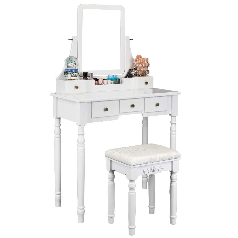 Bonnlo Modern Vanity Table Set with Mirror and Cushioned Stool,Vanity Makeup Table with 5 Drawers White Dressing Table,Removable Desk Makeup Organizer for Nail Polishes Brushes