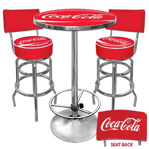 Coca-Cola Ultimate Gameroom Combo - 2 Bar Stools with Back & Pub Table