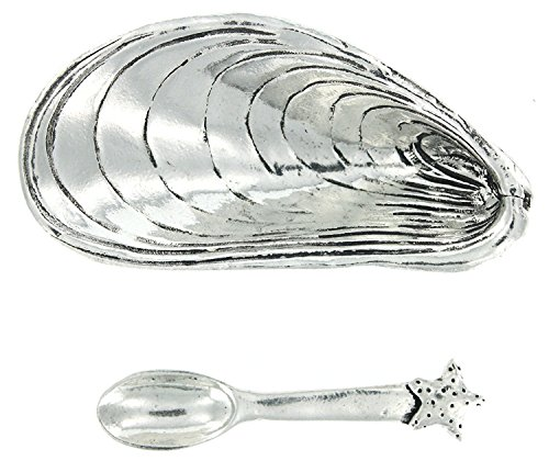 Basic Spirit Mussel Shell Salt Cellar w/Spoon * Handcrafted Pewter Home Lead-Free SD-18