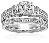 14k White Gold Composite Bridal Wedding Ring Set (1/2cttw IJ color I2 clarity), Size 7