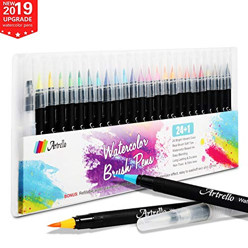 Watercolor Pens Real Brush Markers - 24 Premium Colors Watercolor Markers for Painting Calligraphy Real Soft Brush Tips Watercolor Brush Pens Set for Kids Adults Drawing Sketching 100% Nontoxic (24)