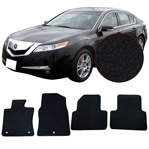 (Floor Mats Fits 2009-2014 Acura TL | Black Nylon Front Rear Flooring Protection Interior Carpets 4PC By IKON MOTORSPORTS | 2010 2011 2012)