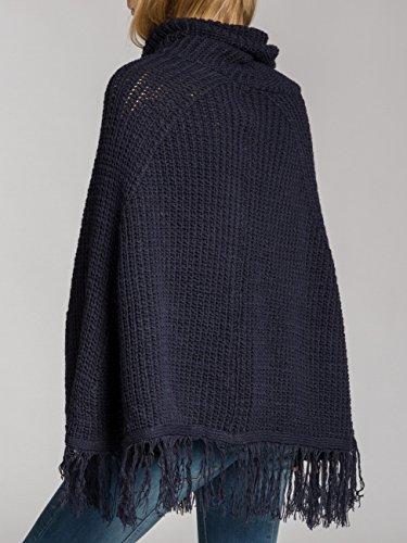 Caspar pon025Mujer WOLL Poncho azul oscuro
