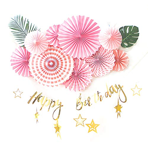 EasyJoy Tissue Hanging Paper Fans Foil Gold Happy Birthday Banner Tropical Palm Leaves Summer Baby Shower Birthday Party Decoration (Pink)