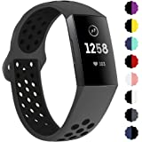 QIBOX Compatible with Charge 3 Bands, Sports Silicone Replacement Women Men Bands Breathable Soft Strap Bracelet…
