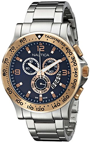 Nautica Men's NAD22503G NST 600 Chrono Analog Display Japanese Quartz Silver Watch