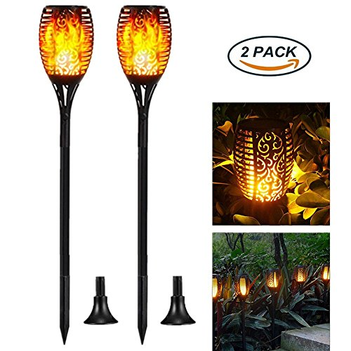 Solar Light, Solar Flame Landscape Light, 96LED Flashing Flashlight, IP65 Waterproof Outdoor Landscape Decoration,Three light patterns (flame/bright/breathing) Automatic Light Control On/Off (2 Pack) by Kabeier