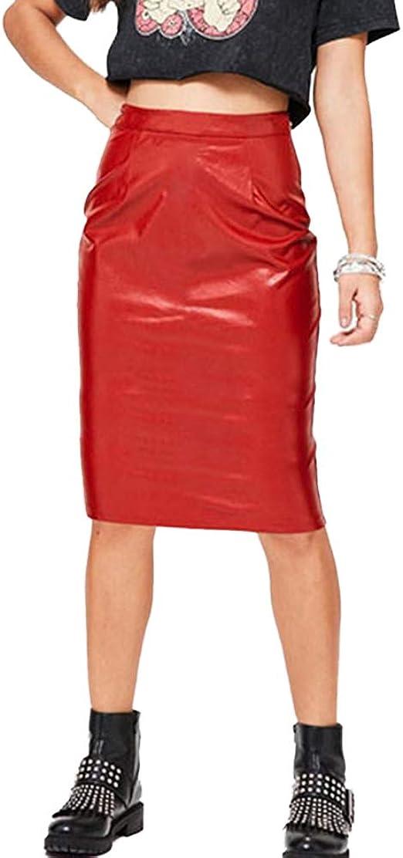 ZhuiKunA Mujer Falda Cortas, de Piel de PU, Elástico, Mini Bodycon ...