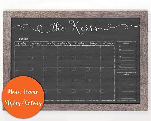Large Framed Calendar, 24x36 dry erase framed calendar, landscape calendar, custom family name calendar, cursive hanging chalkboard calendar