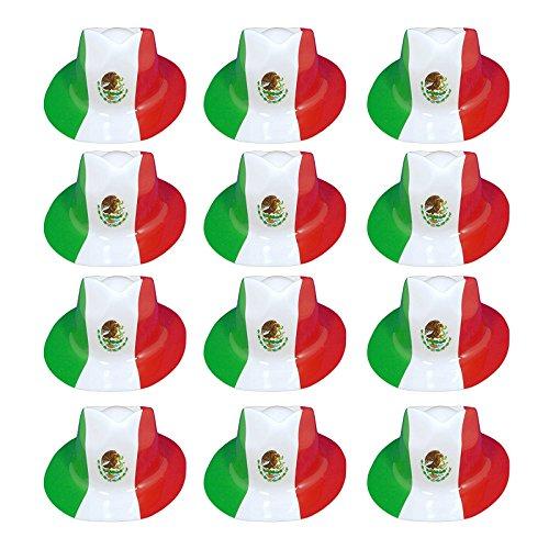 Mexico Hat   El Tri World Cup Soccer Fan Fedora Cap   Mexican Plastic Futbol Hats   Mexico Watch Game Party, BBQ Prop   12 Piece