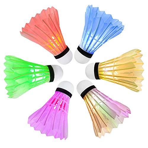 Ohuhu LED Badminton Shuttlecocks Lighting Birdies Shuttlecock Glow in The Dark Badminton Birdie for Indoor/Outdoor Sports Activities, 6-Pack
