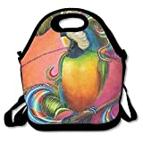 Dozili Beautiful Parrot Large & Thick Neoprene Lunch Bags Insulated Lunch Tote Bags
