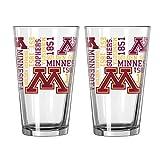 NCAA Minnesota Golden Gophers Spirit Pint Glass, 16-ounce, 2-Pack