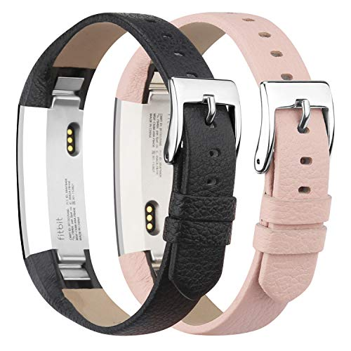 iGK Genuine Leather Replacement Compatible for Fitbit Alta Band and Fitbit Alta HR Bands, Leather Wristbands Straps for Women Men 2Packs Black and Pink
