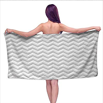 "duommhome Geometric Sports Towel Set Simple Zig Zag Chevron Many Angle Pattern Minimalist Abstract Design Print Handkerchief Set W 20"" x L 39"" Pale Grey White"